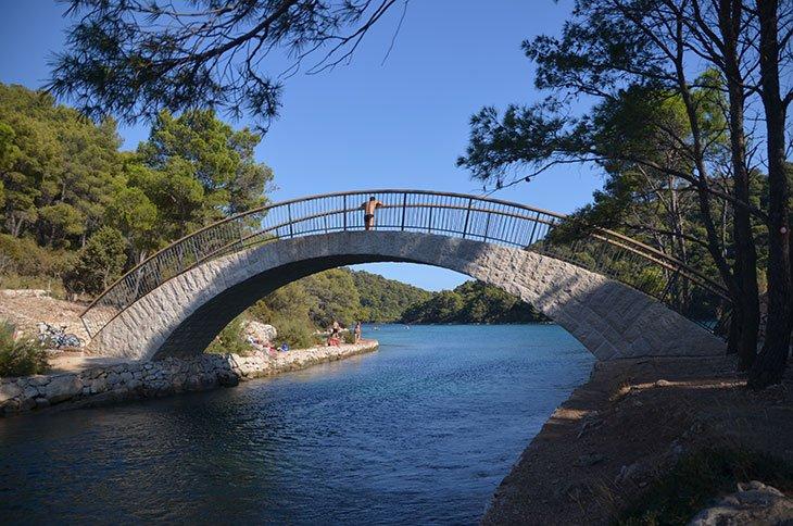 Stone Bridge between big and small lake on Mljet